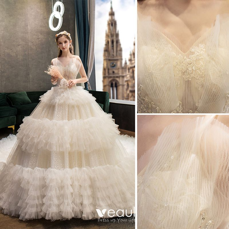 Fabulous Champagne Wedding Dresses 2019 Ball Gown