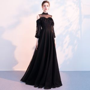 Chic / Beautiful Black Evening Dresses  2018 A-Line / Princess See-through High Neck Long Sleeve Floor-Length / Long Ruffle Formal Dresses