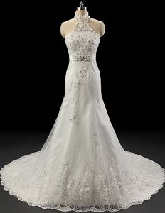 2015 Luxury Halter Lace Beading Wedding Dress Crystal Bridal Gown