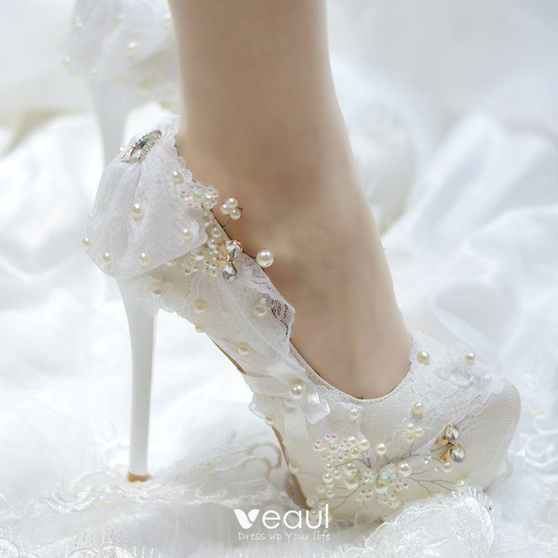 Elegant Ivory Wedding Shoes 2019 Lace Bow Crystal Pearl 14 Cm Stiletto Heels Round Toe Wedding Pumps