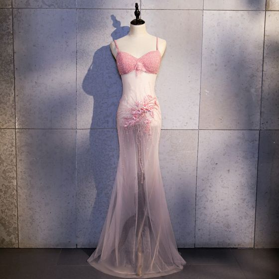 Sexy Candy Pink See-through Evening Dresses  2020 Trumpet / Mermaid Spaghetti Straps Sleeveless Appliques Flower Beading Pearl Rhinestone Floor-Length / Long Backless Formal Dresses
