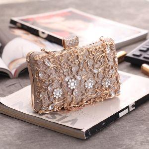 Moderne / Mode Champagne Glitter Faux Diamant Métal Pochette 2018
