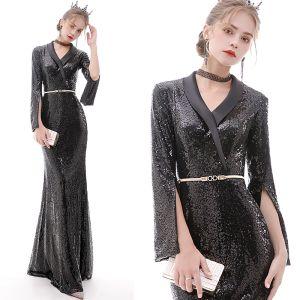 Brillante Negro Vestidos de noche 2020 Trumpet / Mermaid V-Cuello Cinturón Lentejuelas Manga Larga Largos Vestidos Formales