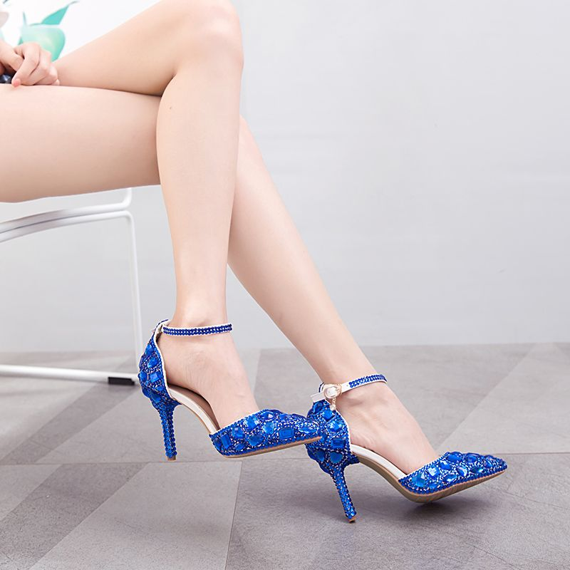 Charming Royal Blue Evening Party Womens Shoes 2018 Crystal Rhinestone Ankle Strap 8 cm Stiletto Heels Pointed Toe High Heels