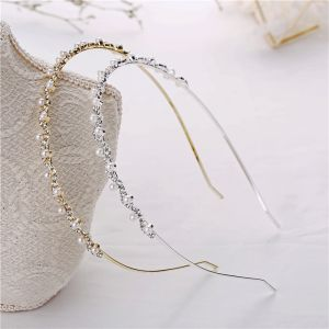 Modest / Simple Pearl Rhinestone Hair Hoop Metal Headpieces 2020