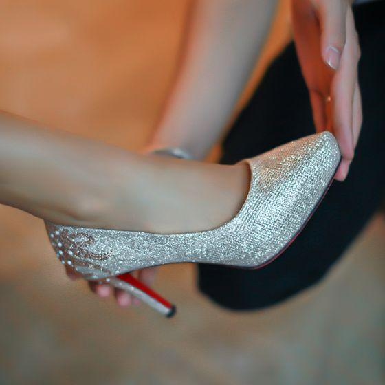 Błyszczące Srebrny Buty Ślubne 2019 Cekiny Rhinestone 9 cm Szpilki Szpiczaste Ślub Czółenka