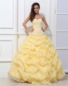 Ball Gown Taffeta Sleeveless Tulle Flowers Beading Ruffles Applique Sweetheart Floor Length Quinceanera Prom Dresses