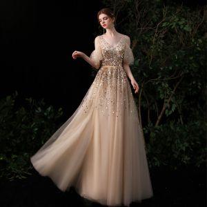 High-end Gold Evening Dresses  2020 A-Line / Princess V-Neck Short Sleeve Sequins Beading Floor-Length / Long Ruffle Backless Formal Dresses