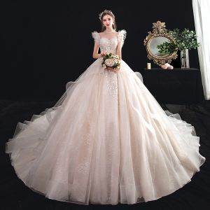 Chic / Beautiful See-through Champagne Wedding Dresses 2020 Ball Gown High Neck Sleeveless Backless Appliques Lace Beading Cathedral Train Ruffle