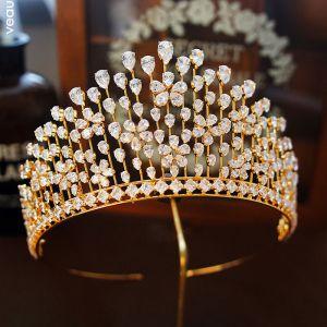 Klassisch Gold Diadem 2019 Metall Strass Haarschmuck Braut