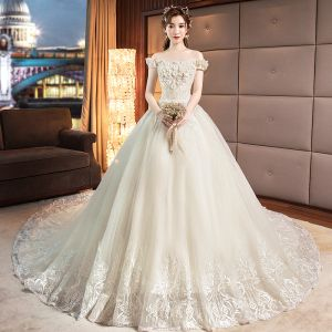 Chic / Beautiful Champagne Wedding Dresses 2019 A-Line / Princess Off-The-Shoulder Pearl Sequins Appliques Lace Flower Short Sleeve Backless Chapel Train