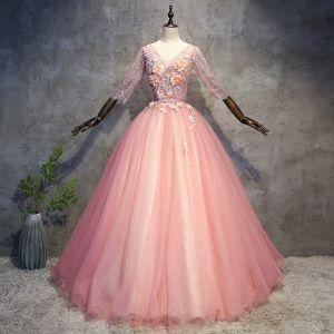 Schöne Perle Rosa Ballkleider 2018 Ballkleid Applikationen Perle Stoffgürtel V-Ausschnitt Rückenfreies 3/4 Ärmel Lange Festliche Kleider