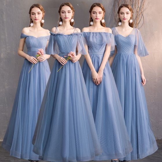 Affordable Sky Blue Bridesmaid Dresses 2019 A-Line / Princess Spotted Tulle Floor-Length / Long Ruffle Backless Wedding Party Dresses