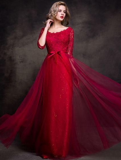 549162bc64 Urocze Sukienki Wieczorowe 2016 Wycięciem Brokat Bordowy Koronki Tiul Sukni  Długa Partia
