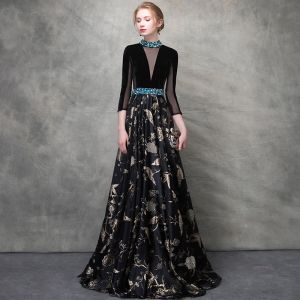 Luxury / Gorgeous Black Gold Evening Dresses  2018 A-Line / Princess Crystal Embroidered Pierced Scoop Neck Backless 3/4 Sleeve Floor-Length / Long Formal Dresses