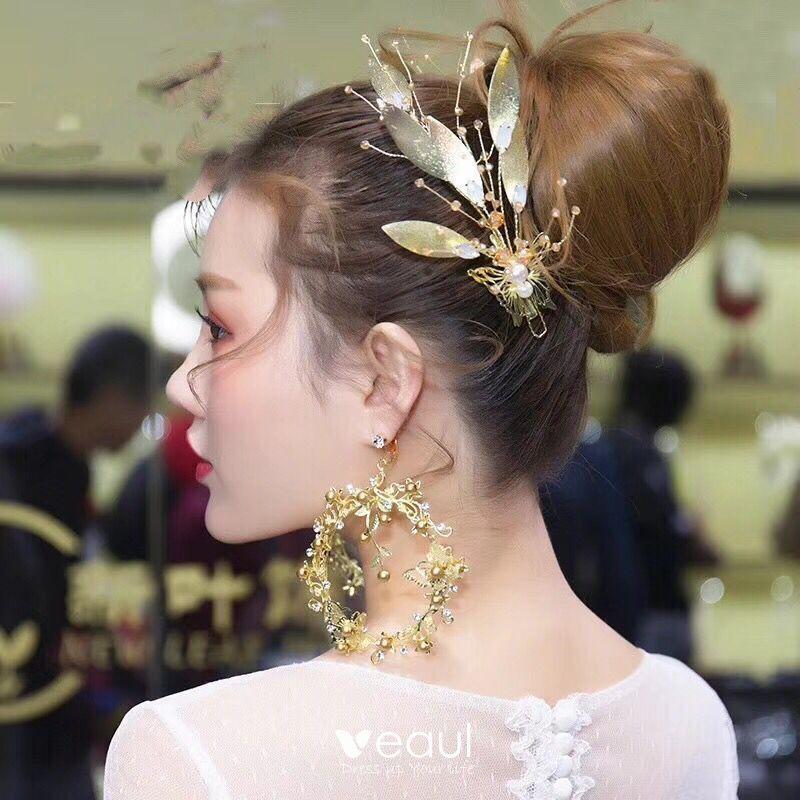 bonne réputation pas cher sélectionner pour officiel Chic / Belle Doré Bijoux Mariage 2019 Métal Feuille Perle Cristal  Accessoire Cheveux Boucles D'Oreilles Mariage Accessorize