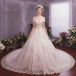 Elegant Champagne Wedding Dresses 2019 A-Line / Princess Off-The-Shoulder Short Sleeve Backless Appliques Lace Beading Sequins Glitter Tulle Chapel Train Ruffle