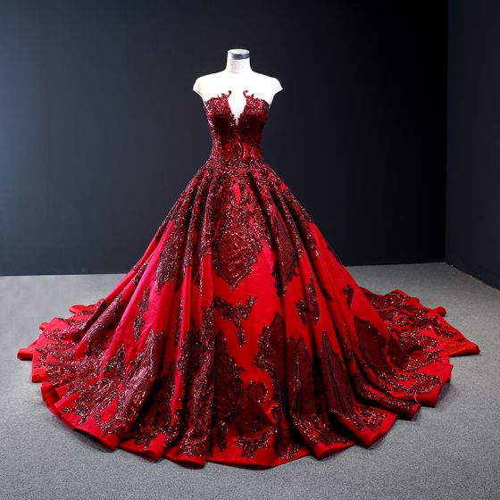 High-end Red Red Carpet See-through Evening Dresses  2020 A-Line / Princess Scoop Neck Sleeveless Appliques Lace Sequins Cathedral Train Ruffle Backless Formal Dresses