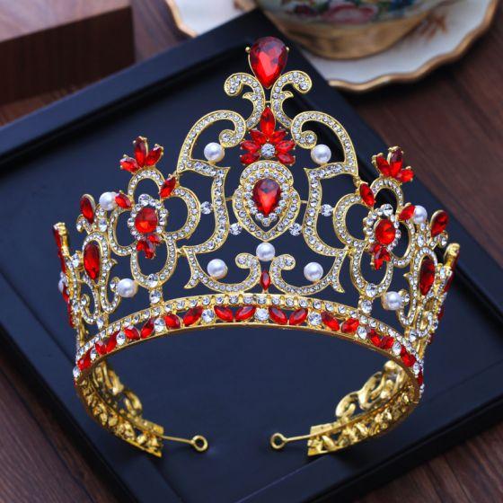 Luxury / Gorgeous Gold Tiara Red Rhinestone Pearl Metal Accessories 2019 Bridal Hair Accessories