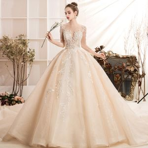 Luxury / Gorgeous Champagne Wedding Dresses 2019 Ball Gown Scoop Neck Handmade  Beading Lace Flower Crystal 3/4 Sleeve Backless Royal Train