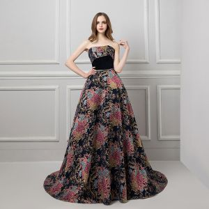 Colored Black Prom Dresses 2019 A-Line / Princess Strapless Sleeveless Multi-Colors Printing Flower Beading Sash Court Train Ruffle Backless Formal Dresses
