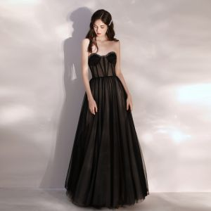 Sexy See-through Black Prom Dresses 2020 A-Line / Princess Sweetheart Sleeveless Beading Floor-Length / Long Ruffle Backless Formal Dresses