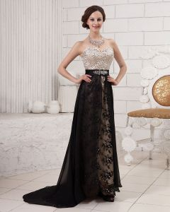 Joint Embroidery Beading Sweetheart Neck Backless Satin Chiffon Evening Dress