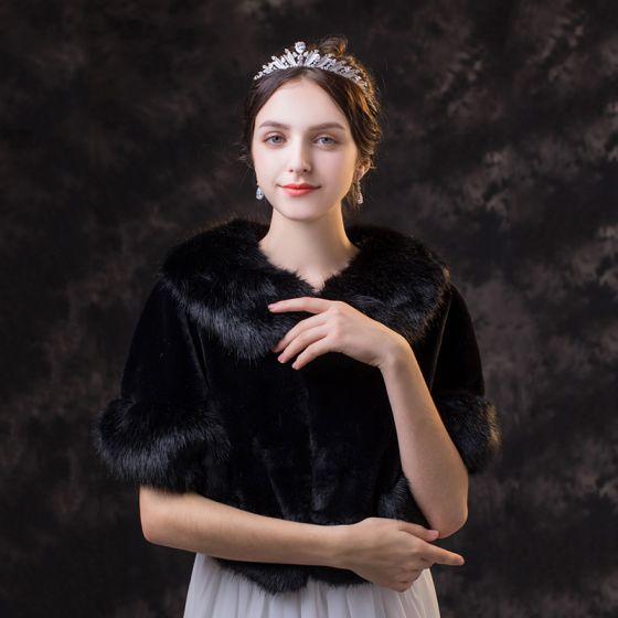 Klassisk Eleganta Svarta sjal 2020 Mocka Polyester Sjalar Hög Hals Axlar Brud Afton Bal Vinter Tillbehör
