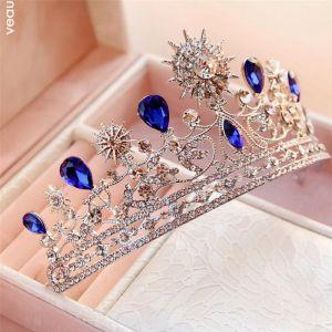Unique Bleu Roi Bijoux Mariage 2017 Métal Faux Diamant Perlage Cristal Accessoire Cheveux Mariage Promo Accessorize
