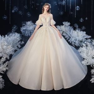 Elegant Champagne See-through Bridal Wedding Dresses 2020 Ball Gown Square Neckline 1/2 Sleeves Bell sleeves Backless Appliques Lace Beading Glitter Tulle Cathedral Train Ruffle