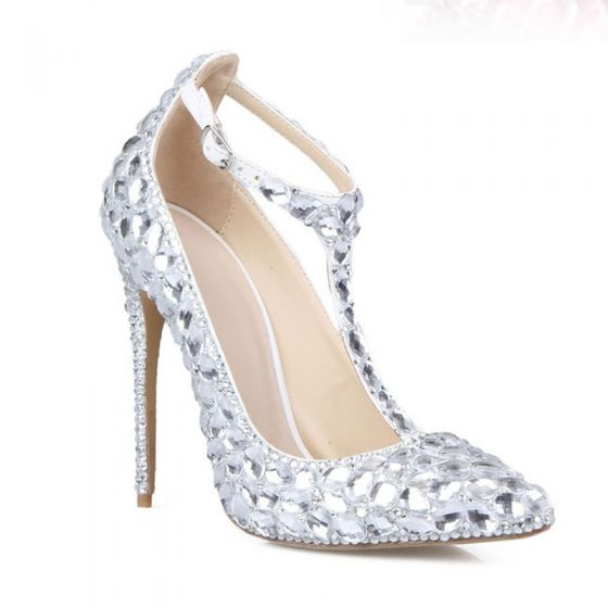 Charmant Zilveren Kristal Bruidsschoenen 2020 Leer Rhinestone T-Strap 11 cm Naaldhakken / Stiletto Huwelijk Spitse Neus Pumps