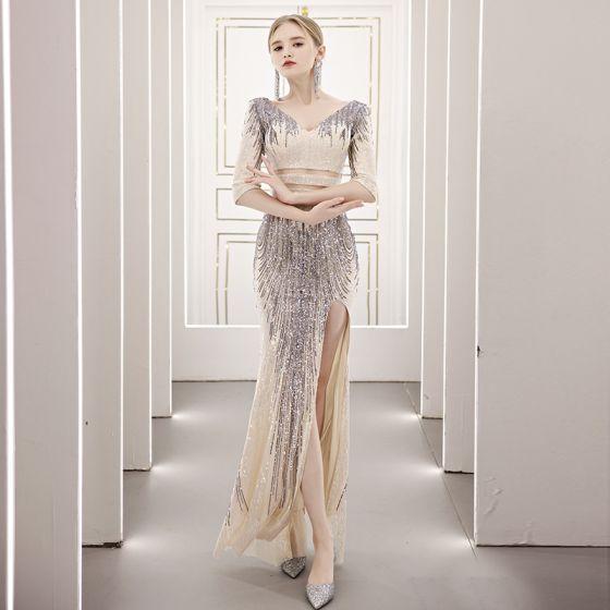 Glitzernden Beige Pailletten Durchsichtige Abendkleider 2021 Meerjungfrau V-Ausschnitt 1/2 Ärmel Gespaltete Front Lange Rückenfreies Festliche Kleider
