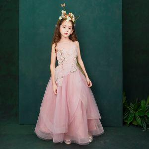 Hada de las flores Rosa Transparentes Vestidos para niñas 2019 A-Line / Princess Scoop Escote Sin Mangas Apliques Con Encaje Flor Rhinestone Largos Ruffle Vestidos para bodas