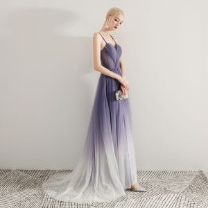 Modern / Fashion Purple Gradient-Color Evening Dresses  2019 A-Line / Princess Spaghetti Straps Sleeveless Sash Sweep Train Ruffle Backless Formal Dresses