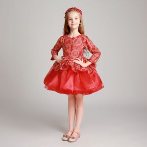 Chic / Beautiful Red Flower Girl Dresses 2017 Ball Gown Scoop Neck Long Sleeve Embroidered Short Ruffle Wedding Party Dresses
