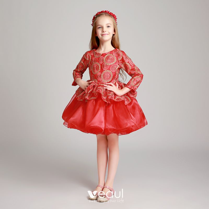 dfe2299aa9a6f Chic / Beautiful Red Flower Girl Dresses 2017 Ball Gown Scoop Neck ...