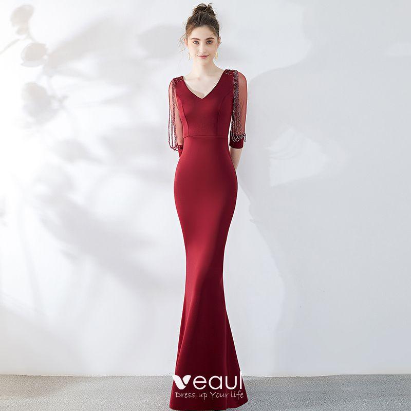 Schöne Einfarbig Burgunderrot Abendkleider 2019 ...