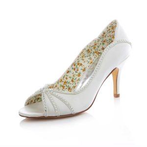 Elegante Witte Satijnen Bruidsschoenen 8cm Hoge Hakken Naaldhak Pumps