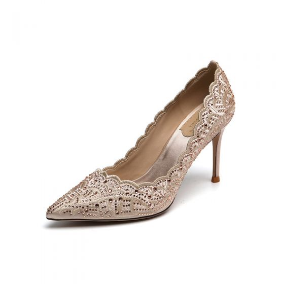 Elegant Champagne Rhinestone Embroidered Wedding Shoes 2020 8 cm Stiletto Heels Pointed Toe Wedding Pumps