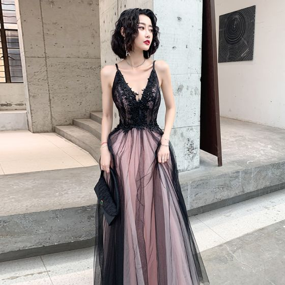 Sexy Black Evening Dresses  2020 A-Line / Princess Spaghetti Straps Sleeveless Appliques Lace Beading Floor-Length / Long Ruffle Backless Formal Dresses