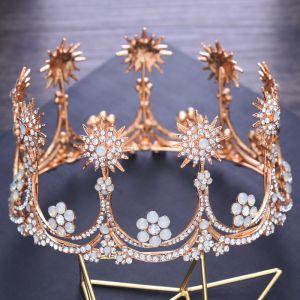 Amazing / Unique Gold Wedding Tiara 2018 Metal Rhinestone Accessories