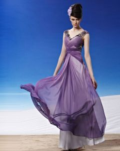 V Neck Beading Pleated Floor Length Tencel Woman Evening Dress