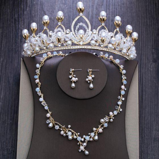 Chic / Beautiful Gold Bridal Jewelry 2020 Metal Beading Pearl Rhinestone Necklace Earrings Tiara Wedding Accessories