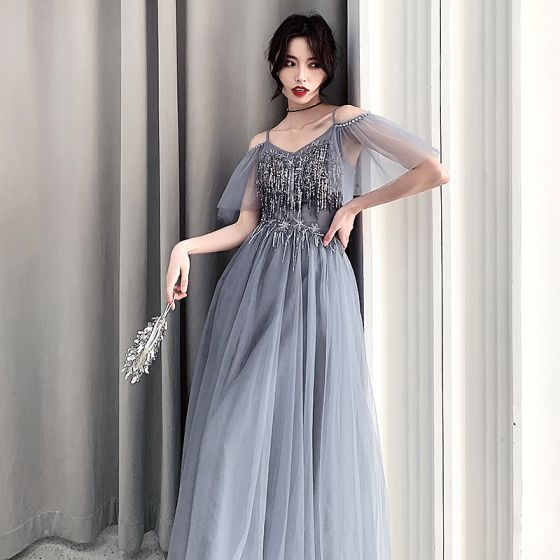 Affordable Grey Evening Dresses  2019 A-Line / Princess Spaghetti Straps Short Sleeve Sequins Tassel Floor-Length / Long Backless Formal Dresses