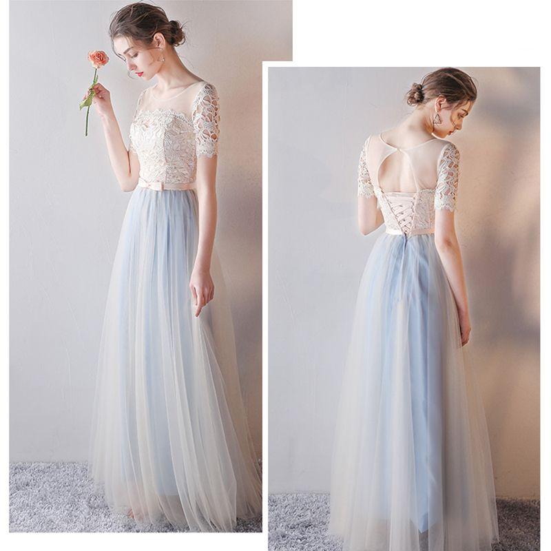 Elegant Champagne Bridesmaid Dresses 2019 A-Line / Princess Sash Appliques Lace Floor-Length / Long Ruffle Backless Wedding Party Dresses