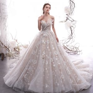 Elegant Champagne Wedding Dresses 2019 A-Line / Princess Sweetheart Sleeveless Backless Glitter Appliques Lace Cathedral Train Ruffle