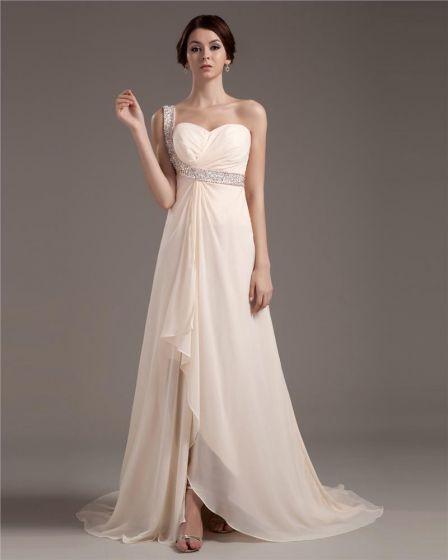 Empire One Shoulder Asymmetrical Elastic Woven Satin Prom Evening Dress