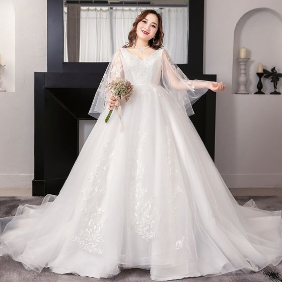 Amazing / Unique White Plus Size Ball Gown Wedding Dresses 2019 ...