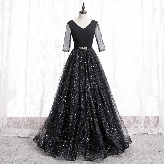 Fashion Black Prom Dresses 2020 A-Line / Princess V-Neck Star Sequins Rhinestone 3/4 Sleeve Backless Floor-Length / Long Formal Dresses