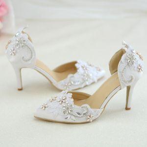 Élégant Blanche En Dentelle Fleur Chaussure De Mariée 2020 Faux Diamant 8 cm Talons Aiguilles À Bout Pointu Mariage Talons